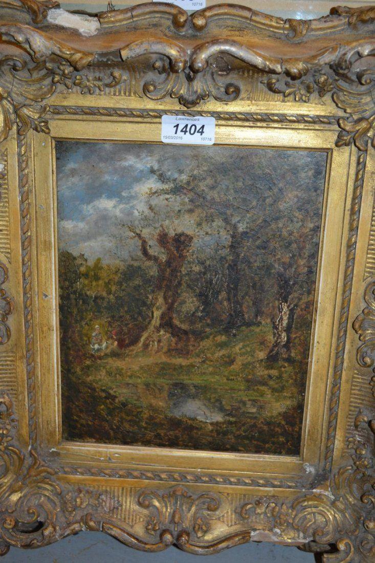 19th Century heavy gilt framed oil on canvas, children