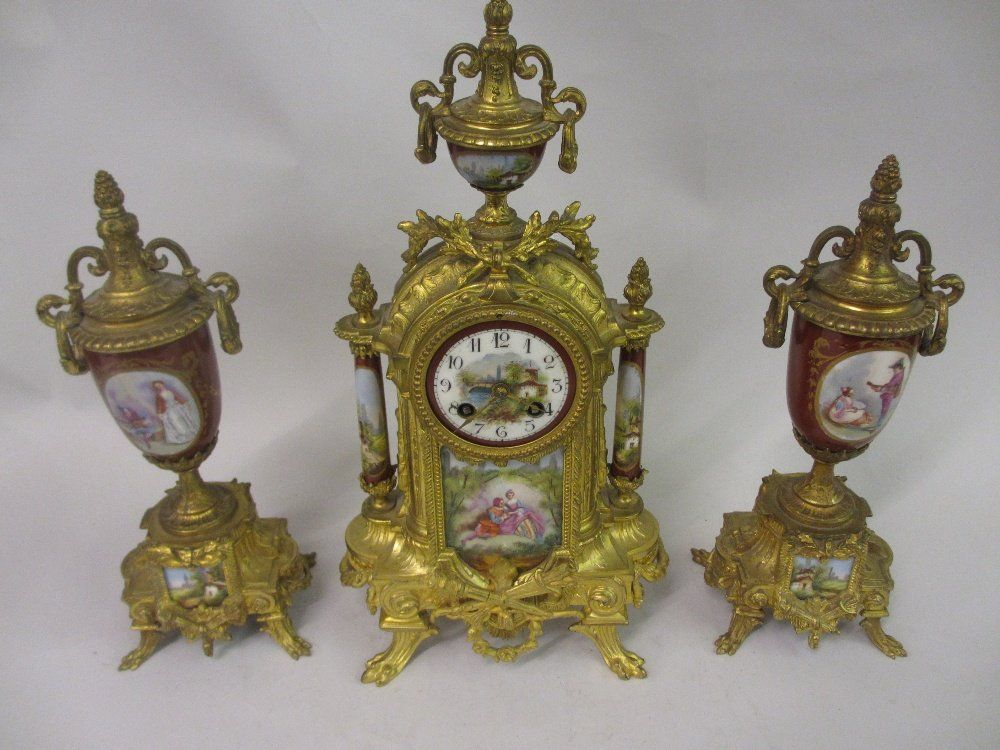 French style gilt metal and porcelain mounted three