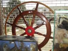 Large brass mounted hardwood ships wheel