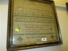 Early Victorian alphabet and motto sampler, signed Mary