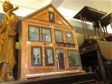 Large early 20th Century dolls house (a/f), 38ins high,