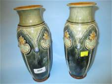 Pair of Royal Doulton stoneware baluster form vases