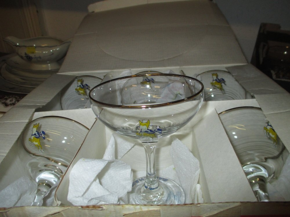 Boxed set of six Babycham glasses together with - 2