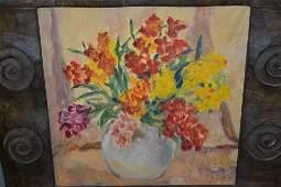 Oil on board, wallflowers in a bowl, housed in an Arts
