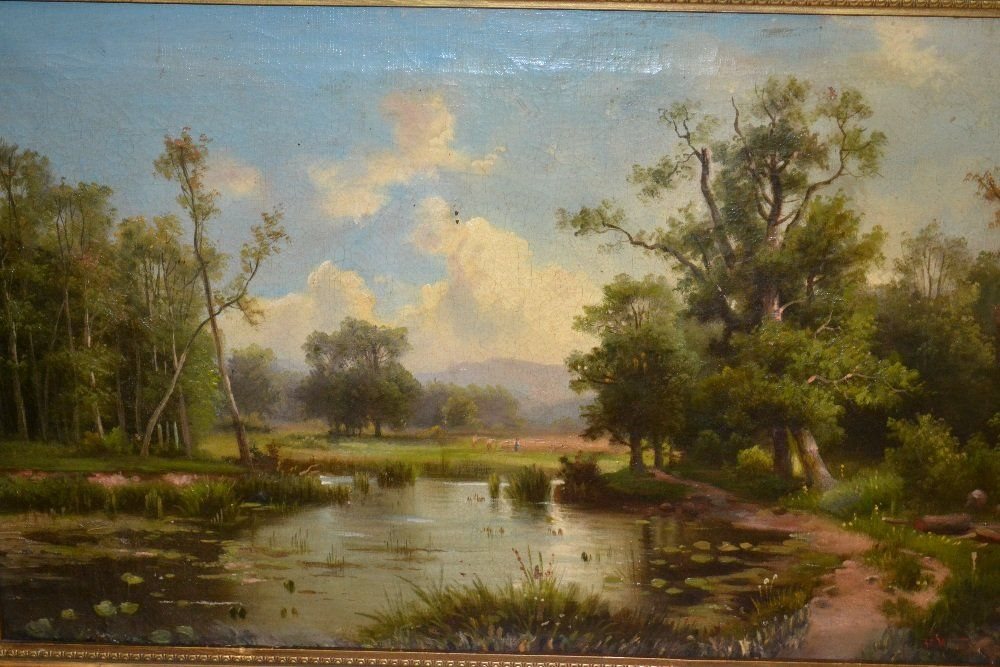 H. Marsh 19th Century oil on canvas, landscape with