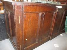 Large antique oak four panel coffer later adapted as a