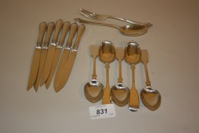 Set Of Six Silver Handled Fruit Knives By John Round,