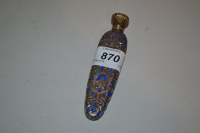19th Century Blue Glass Silver Covered Scent Bottle