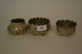 Three Various Small Burmese White Metal Bowls