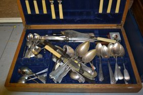 Oak Canteen Box Containing Miscellaneous Silver And