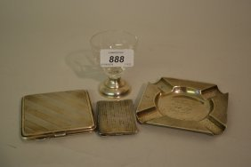 Silver Cigarette Case, Vesta Case And Ashtray, Together