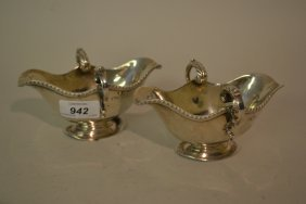 Pair Of London Silver Two Handled Sauce Boats (a/f)