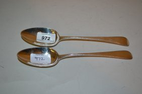 Pair Of George Iii Silver Old English Pattern Feather