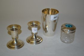 Silver Beaker, Dressing Table Bottle With Silver And