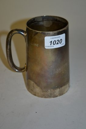 London Silver Mug Of Plain Tapering Form With Loop