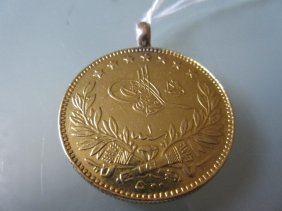 Mid 20th Century Turkish Gold Coin With Later Pendant