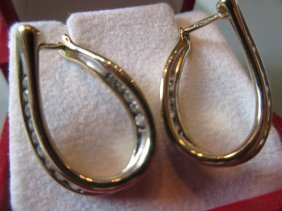 Pair Of 18ct Yellow Gold Diamond Set Hoop Earrings