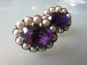 Pair Of 9ct Gold Oval Amethyst And Cultured Pearl Screw