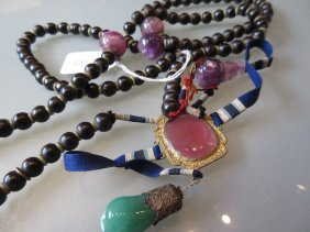 Chinese Court Necklace Incorporating Amethyst, Rose
