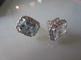 Pair Of 18ct White Gold Aquamarine And Diamond Stud
