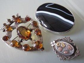 Scottish Silver Citrine Set Shield Shaped Brooch,