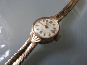 9ct Yellow Gold Ladies Wristwatch With Gold Strap