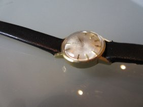 Ladies Omega Gold Cased Wristwatch With A Leather Strap