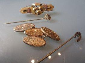 Pair Of 9ct Gold Cufflinks, A Victorian Gold Bar Brooch