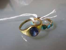 Turquoise Set Ring And An 18ct Gold Amethyst Set Signet