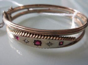 Edwardian Gold, Ruby And Diamond Set Bangle