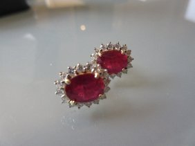 Pair Of 18ct Yellow Gold, Ruby And Diamond Cluster Stud
