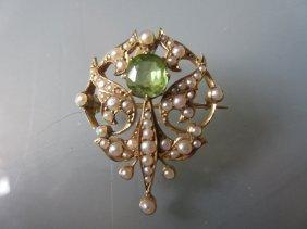 15ct Gold Peridot And Split Pearl Pendant In Original