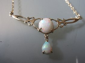 9ct Gold And Opal Pendant Necklace
