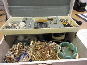 Cream Jewellery Box Containing A Quantity Of Various