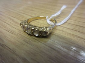 18ct Yellow Gold And Five Stone Diamond Set Carved Half