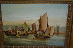 Late 19th Or Early 20th Century Oil On Board, A Lobster