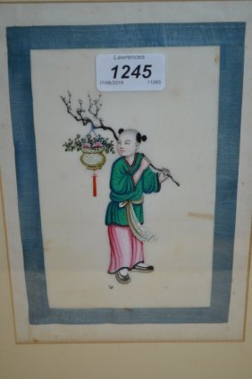 Set Of Nine 19th Century Chinese Watercolours On Rice