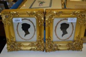 Pair Of 19th Century Silhouette Portraits Of Ladies In