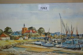 Charles Grigg Tait, Watercolour, Coastal Town In Essex