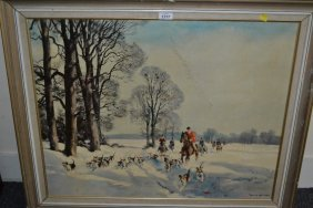 Oil On Panel, Winter Hunting Scene, Unsigned