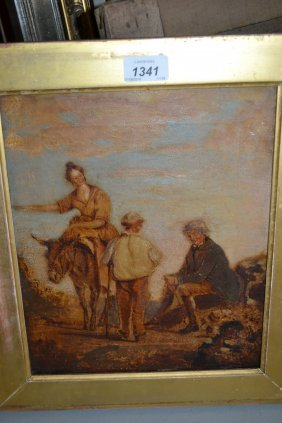 19th Century Oil On Canvas, Figures With Donkey On A
