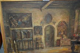 Late 19th Century Oil On Canvas, Medieval Interior