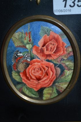 Mary Finlay, Monogrammed Miniature Painting Of Roses
