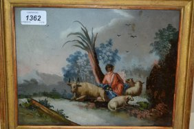 18th / 19th Century Reverse Painting On Glass, Shepherd
