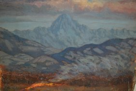 Margaret Theyre, Four Unframed Oils On Panel, Mountain