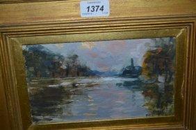 Impressionist Style Oil, River Landscape At Sunset,
