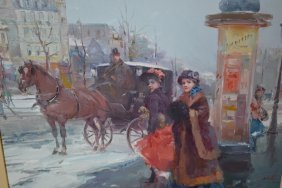 Juan Soler, Oil On Canvas, Paris Street Scene With