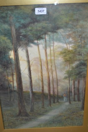 George Oyston, Watercolour, Forest Scene With Figure On
