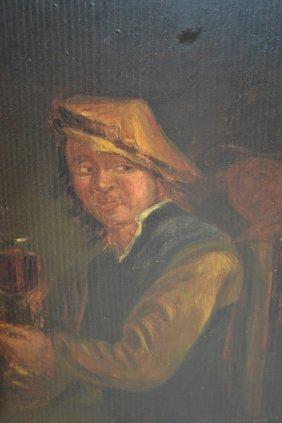 Unframed Antique Oil On Panel, Portrait Of A Flemish