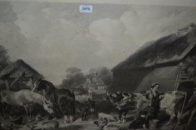 Large 19th Century Engraving And An English Farmyard,